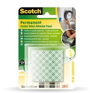 Montāžas kvadrātiņi 3M,  balti 25.4x25.4mm, 16gab. permanent