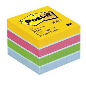 Līmlapiņu kubs 3M Post-it MINI 51x51mm/400l. krāsains