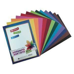Papīra masā tonēts kartons A4 12 krāsas,  maisiņā