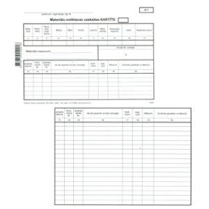Materiālu noliktavas uzskaites kartīte,  A5DK,  10 loksnes