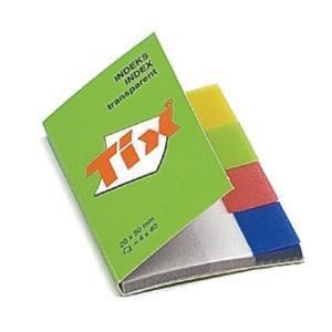 Indeksi AERO Tix plast. 20x50mm 4 caursp./krāsas x 40lap