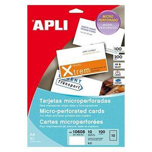 Papīrs APLI vizītkartēm perforēts ar izmeru 90x50.8mm 10lp.