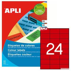Uzlīmes APLI 70x37mm/A4 sarkanas,  20 loksnes