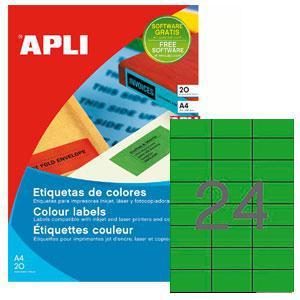 Uzlīmes APLI 70x37mm/A4 zaļas,  20 loksnes