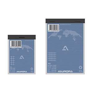 Bloknots AURORA A6/100 lapas rūtiņu no pārstrādāta papīra