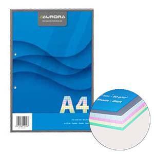 Lapas AURORA A4/100 lap.rūtiņu ar 2 caur. 4 krāsas lapas