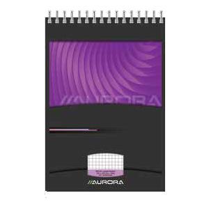 Bloknots A6/80 lapas MANO rūtiņu ar spirāli AURORA