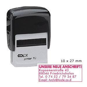 Zīmogs COLOP Printer10 melns korpuss,  sarkans spilventiņš
