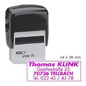 Zīmogs COLOP Printer20 melns korpuss,  violets spilventiņš