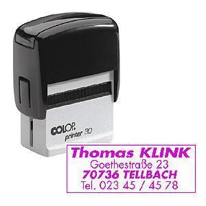 Zīmogs COLOP Printer 30,  melns korpuss,  violets spilventiņš