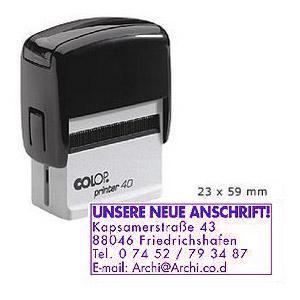 Zīmogs COLOP Printer 40,  melns korpuss,  violets spilventiņš
