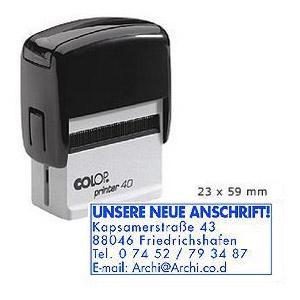 Zīmogs COLOP Printer 40,  melns korpuss,  zils spilventiņš