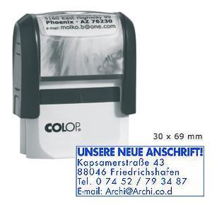 Zīmogs COLOP Printer 50N,  pelēks korpuss,  zils spilventiņš