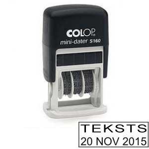 Datumzīmogs COLOP S160 Mini-Dater latviešu valodā, melns