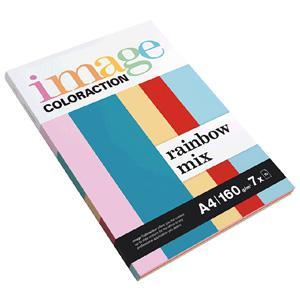 Krāsains papīrs IMAGE C. Rainbow Mix A4 160g/m2,  7x10 lapas