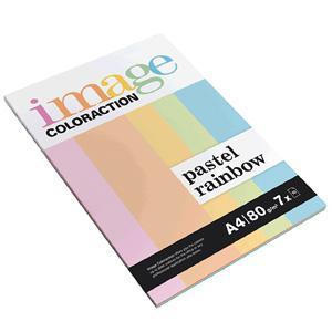 Krāsains papīrs IMAGE C. Pastel Rainbow A4 80g/m2,  7x10 lap.