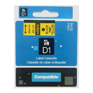 Marķ.lente DYMO D1, 9mmx7m, melns/dzeltens,  ekvivalents