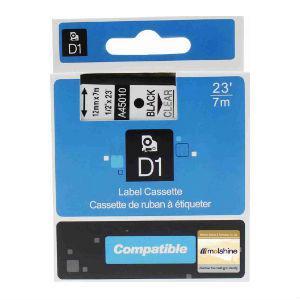 Marķ.lente DYMO D1, 12mmx7m, melns/caurspīdīgs,  ekvivalents