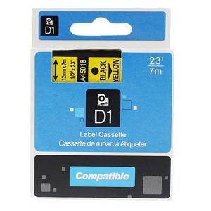 Marķ.lente DYMO D1, 12mmx7m, melns/dzeltens,  ekvivalents