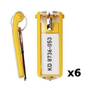 Atslēgu piekariņi DURABLE 6 gab. dzeltena krāsa