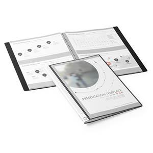 Katalogu mape DURALOOK PLUS 10 kabatas,  melna,  DURABLE