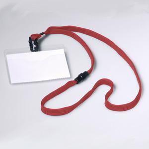 Personas karte 60x90mm ar tekstila lente DURABLE,  sarkana