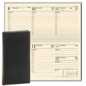 *Kabatas kalendārs EKO Lady melns,  mākslīgā āda