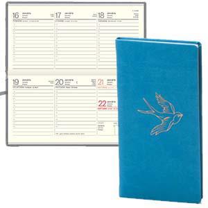 *Kabatas kalendārs EKO Lady māksl.āda Soft tirkīza zils