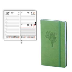 *Dienasgrāmata EKO Elipse Soft,  māksl. āda,  gaiši zaļa