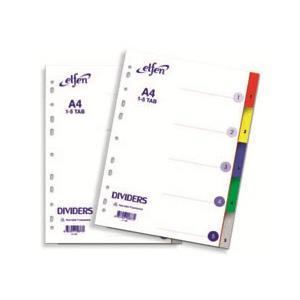 Sadalītājs A4/1-5,  PP krāsains ar numerāciju Elfen
