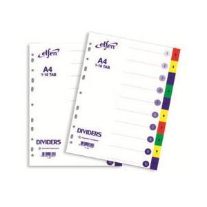 Sadalītājs A4/1-10,  krāsains,  ar numerāciju Elfen