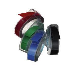 Marķēšanas lente DYMO 3D,  9mmx3m,  balti burti uz melna fona
