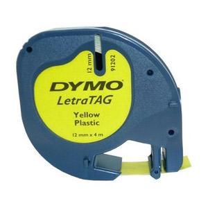 Marķ lente DYMO LetraTag,  12mmx4m,  melni burti uz dzeltena