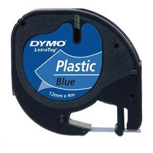 Marķ lente DYMO LetraTag,  12mmx4m,  melni burti uz zila