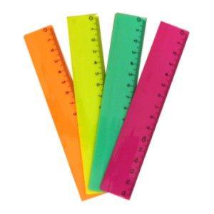 Lineāls 15cm neona krāsa GRAND