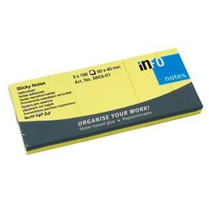 Līmlapiņas INFO 40x50mm dzeltenas, 3 gab.x100 lapas