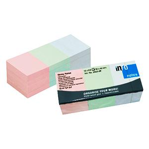 Līmlapiņas INFO 40x50mm,  12gab.(3 krāsas X 4 gab.)