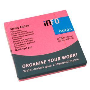 Līmlapiņas INFO NEON 75x75mm roza,  80 lapas