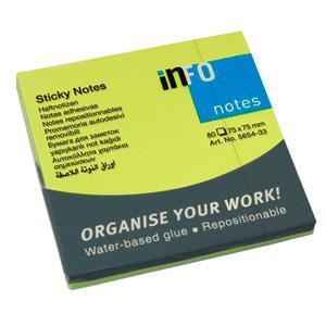 Līmlapiņas INFO NEON 75x75mm zaļas,  80 lapas