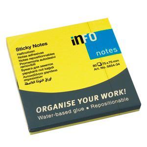 Līmlapiņas INFO NEON 75x75mm dzeltenas,  80 lapas