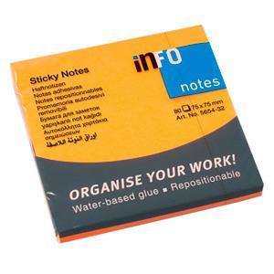 Līmlapiņas INFO NEON 75x75mm oranžas,  80 lapas