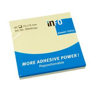 Līmlapiņas INFO MORE ADHESIVE POWER 75x75mm,  dzeltenas