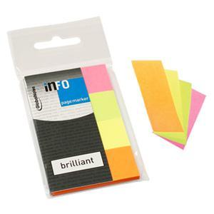 Indeksi INFO 20x50mm,  4 neona krāsas x 40 lapas,  papīra