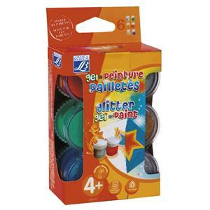 *Guaša krāsas Lefranc 6x22ml ar glitteriem (3 gēli+3 krāsas)