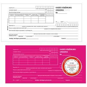 Kases ieņēmumu orderis ar kvīti 1/3*A4/P-2