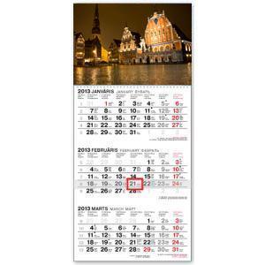 *Sienas kalendārs 3 daļas STANDART 30x63 2019g.
