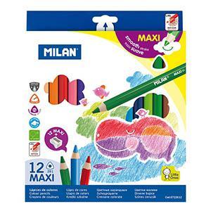 Zīmuļi krāsainie 12 krāsas MAXI trīsstūraini,  Milan
