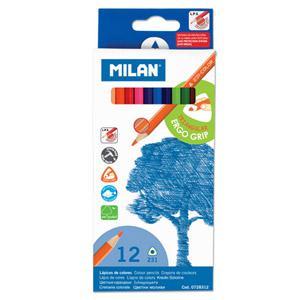 Zīmuļi krāsainie 12 krāsas,  trīsstūraini Milan