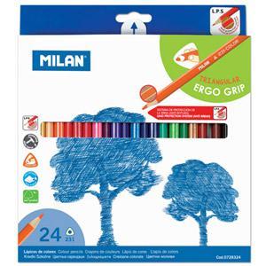 Zīmuļi krāsainie 24 krāsas,  trīsstūraini Milan
