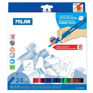 Zīmuļi krāsainie 24 krāsas,  trijstūra gumijots korpuss Milan